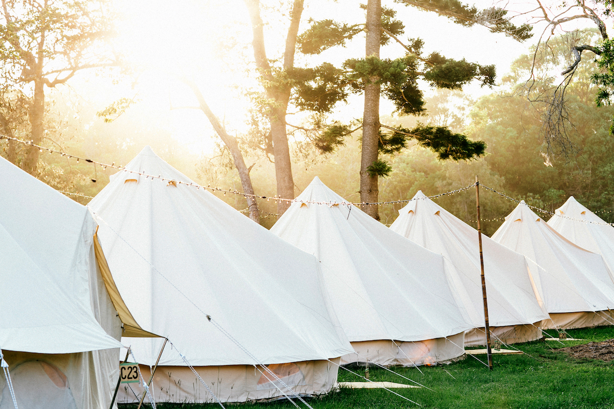 Flash Camp's spacious canvas Flash tents are specially designed for the Aussie heat