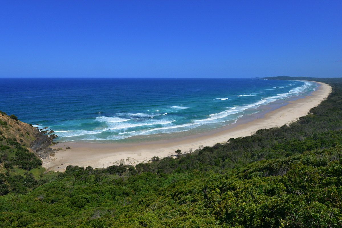 Tallow Beach is a seemingly endless stretch of gleaming white sand and crashing waves.